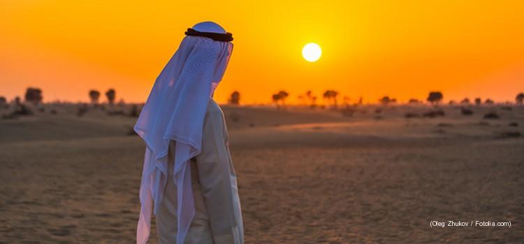 Araber im Sonnentuntergang