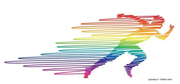 Läufer in Regenbogenfarben