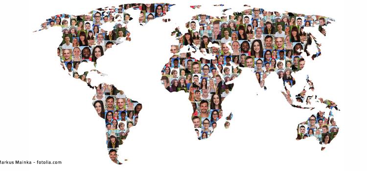Weltkarte aus Gesichtern