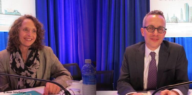 Annalene Nel stellte auf der Retroviruskonferenz CROI die Ergebnisse der Ring-Studie vor, Jared Baeten die der ASPIRE-Studie. (Foto: Armin Schafberger)