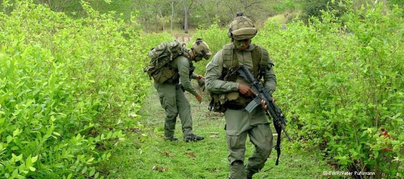 Training der kolumbianischen Anti-Drogen-Spezialeinheit in der polizeieigenen Koka-Plantage