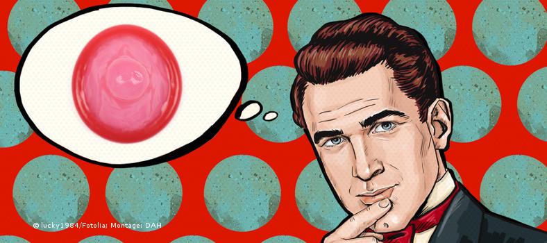 Kondom in Gedankenblase