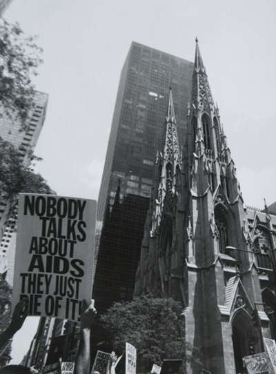 ACT UP Aktion vor Sankt Patrick Kathedrale New York