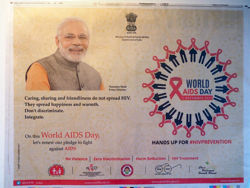 Plakat der Regierung Indiens zum Welt-Aids-Tag 2016