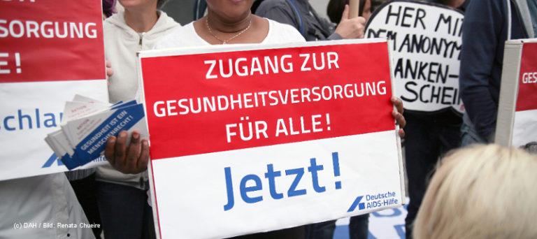 Demonstration für den Zugang von Menschen ohne Papiere zur Gesundheitsversorgung