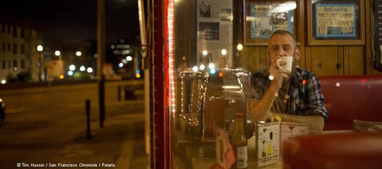 Peter Greene bei Kaffee und Pancakes in der Market Street in San Francisco