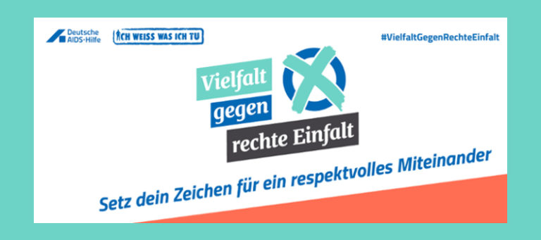 """Das Bild zeigt das Logo der Kampagne """"Vielfalt gegen rechte Einfalt"""", neben dem Schriftzug findet sich ein Kreuz in einem Kreis, das an ein Kreuz auf einem Wahlzettel erinnert. Unter dem Logo findet sich der Satz: Setz dein Zeichen für ein respektvolles Miteinander."""