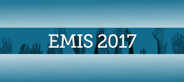 Schriftzug EMIS 2017, blauer Hintergrund, darauf eine Reihe hoch gestreckter Arme und Hände