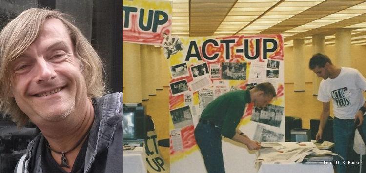 ACT UP in Deutschland: Foto-Collage bestehend aus einem Porträt von Uli Würdemann und einem Archivbild eines ACT UP-Standes auf dem Deutschen AIDS-Kongress Hamburg 1990