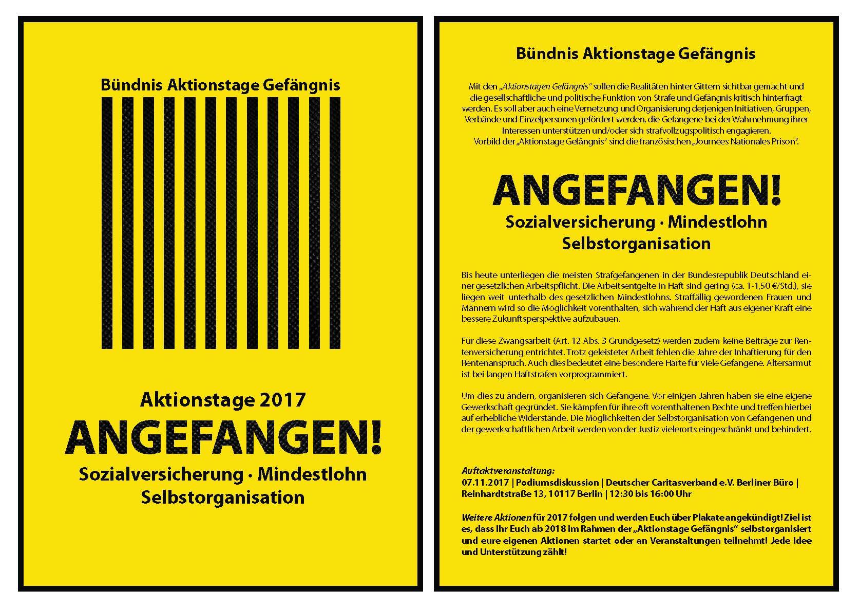 Aktionstage Gefängnis - Zwangsarbeit in Deutschland verbieten
