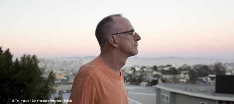 Kevin VandenBergh im Hintergrund die Bucht von San Francisco