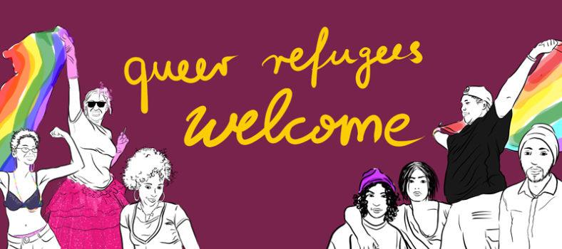 Gruppe von gezeichneten Personen von der Startseite queerrefugeeswelcome.de