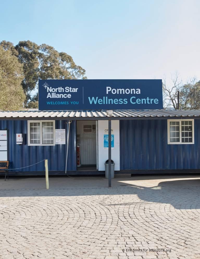 Klinikcontainer der North Star Alliance auf dem Gelände des Truck Stop Pomona