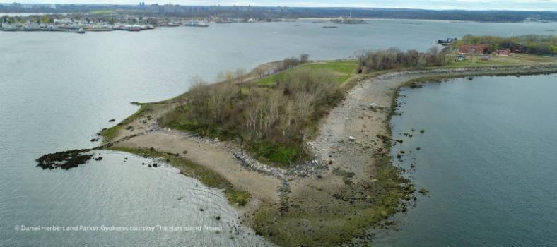 Ansicht von Hart Island mit dem New Yorker Armenfriedhof
