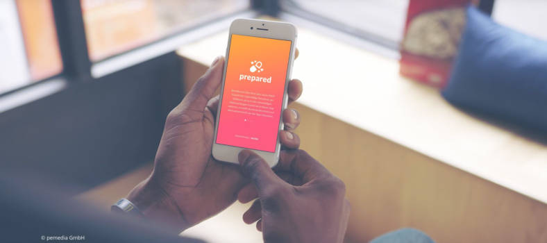Smartphone mit der PrEP-App Prepared